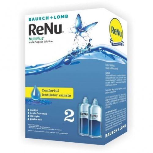 Solutie pentru lentile de contact ReNu MultiPlus 2 x 60 ml + suport pentru lentile de contact inclus