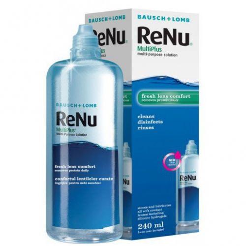 Solutie pentru lentile de contact ReNu MultiPlus 240 ml + suport lentile de contact inclus